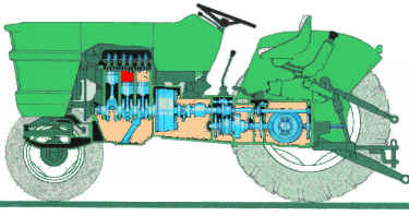 cutaway view of oliver 1250-a's powertrain